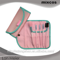 with fabric net case , 2colors synthetic hair 5pcs cosmetic brush set
