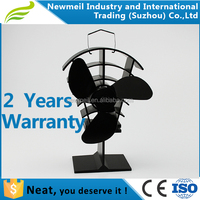 Newmeil Black blades low noise high airflow wood burning fan for fireplace, stove top fan blower for fireplace