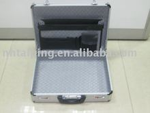 Pure aluminium rigid hard attache computer carrying briefcase with secure lock suitcase aluminum slim metal briefcase