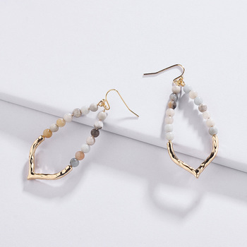 Amazon Hot Sell New Design Natural Stone Beads Hoop Jewelry Gold Plated For Lady