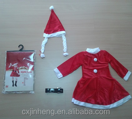 Hot Selling Lady Christmas Party Dress Costume Santa Cosplay Red Dress
