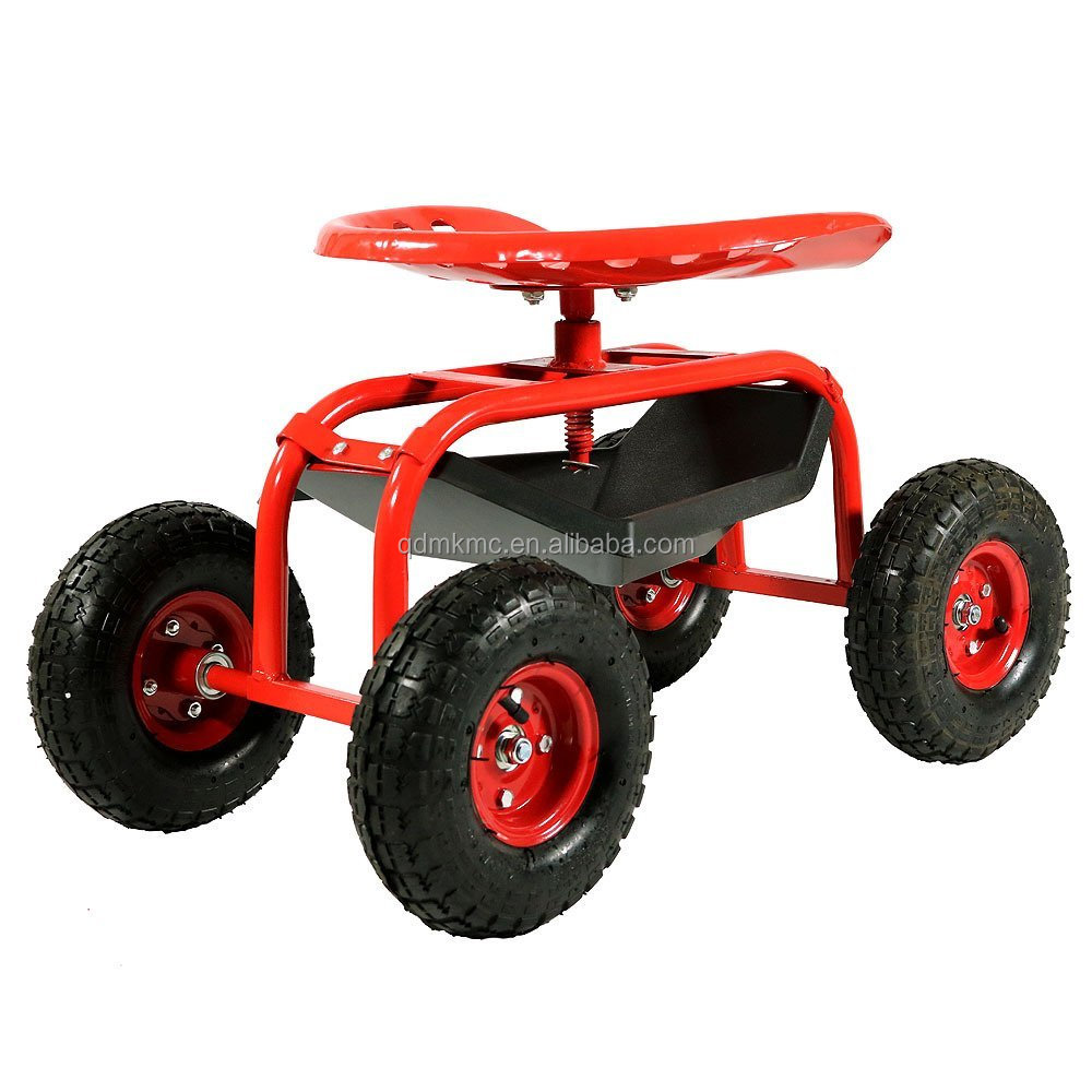 Red Rolling Shop Cart with 360 Degree Swivel Seat & Tool Tray