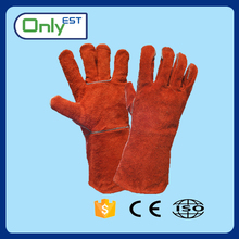 Hand Safety Protection split leather long cuff welding gloves red