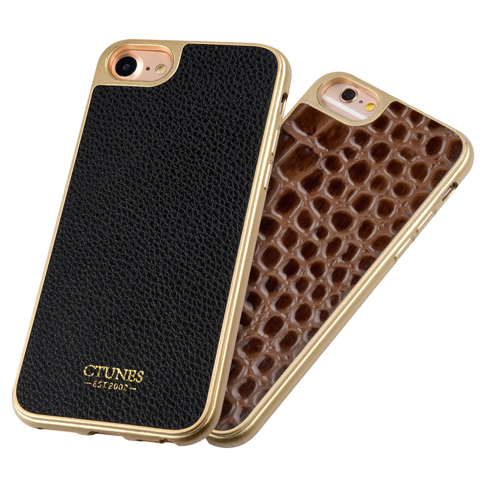 C&T Flexible TPU Gel Case with PU Leather Surface Electroplate Frame Bumper Protective Cover for Apple iPhone 7 4.7 inch