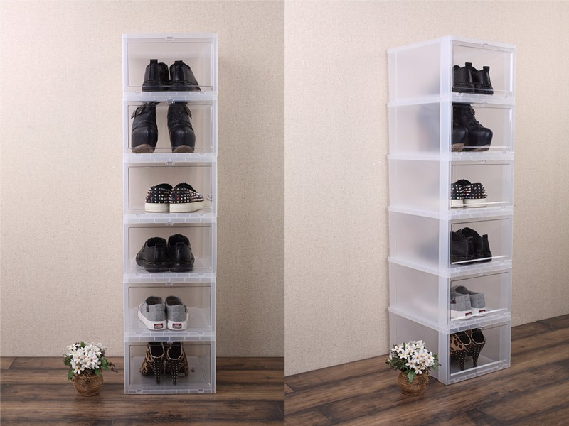 China Wholesale Plastic Black Drop Front Stackable Shoe Box