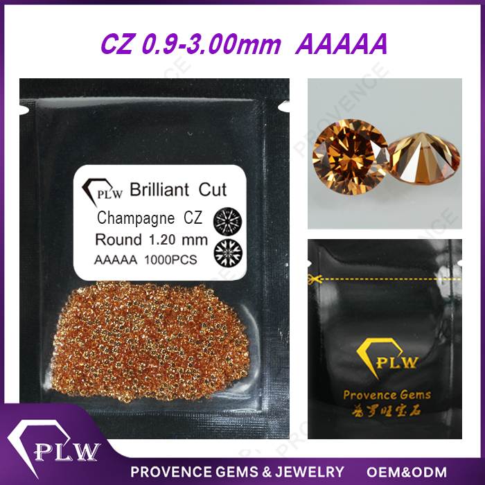 Wholesale synthetic 0.9~3.0mm round small size cz stone champagne cubic zirconia stones price