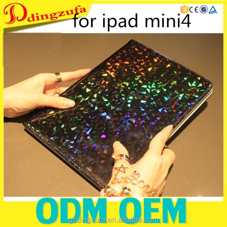 For ipad leather case, Bling Flip Stand TPU + PU Leather Case for ipad mini4