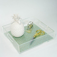 Square clear acrylic serving tray with insert, lucite home storage tray, plexiglass tray with handles