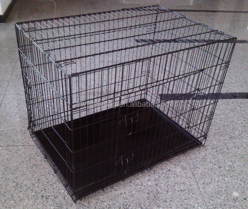 black metal tray folding metal wire dog cages