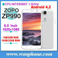 ZP990 Android Quad Core 3G Mobile Phone MTK6589T 1.5GHz 1GB+32GB 6inch 1920x1080px 5+13MP two Camera
