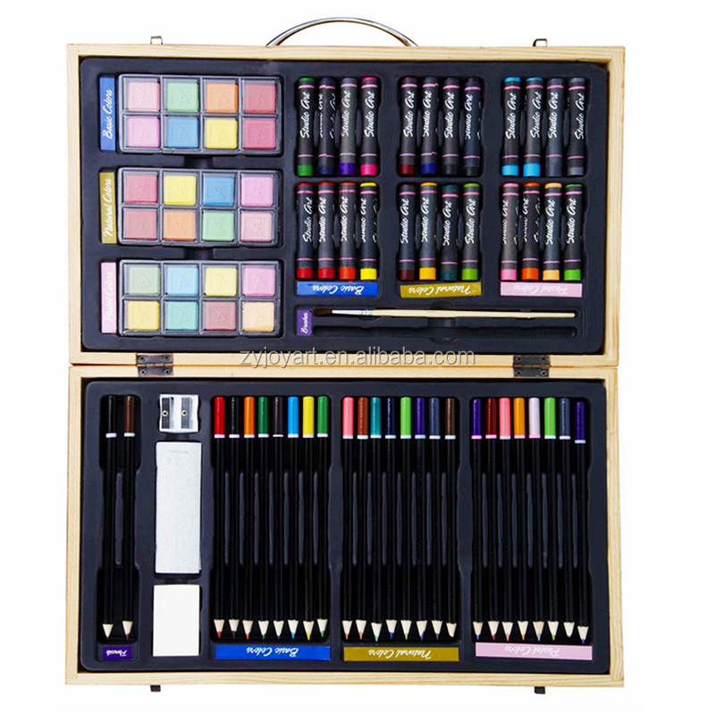 Wood Art Drawing Set for Kids in Wooden Case 80 Pieces Colored pencils Crayons