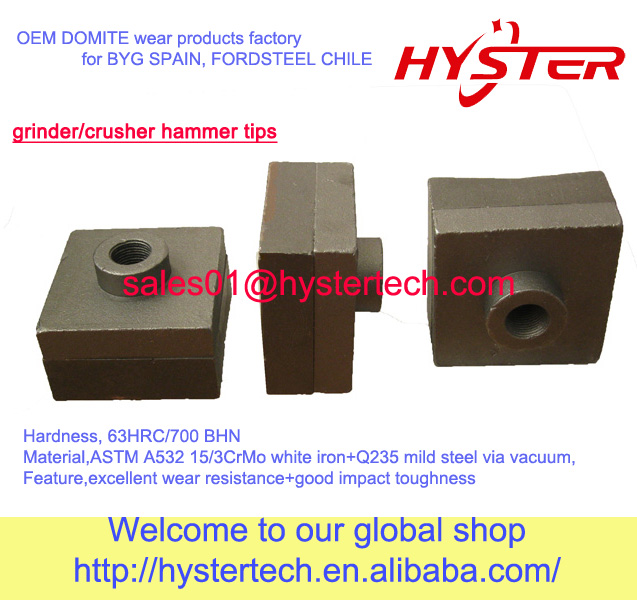 manufacture Australia quality crusher hammer tips Domite hammertips for sugar mill/cane cutting machine in Tailand/Indonesia