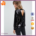 factory supplier black sequin women blouse,girls sexy blouse designs with v back tie