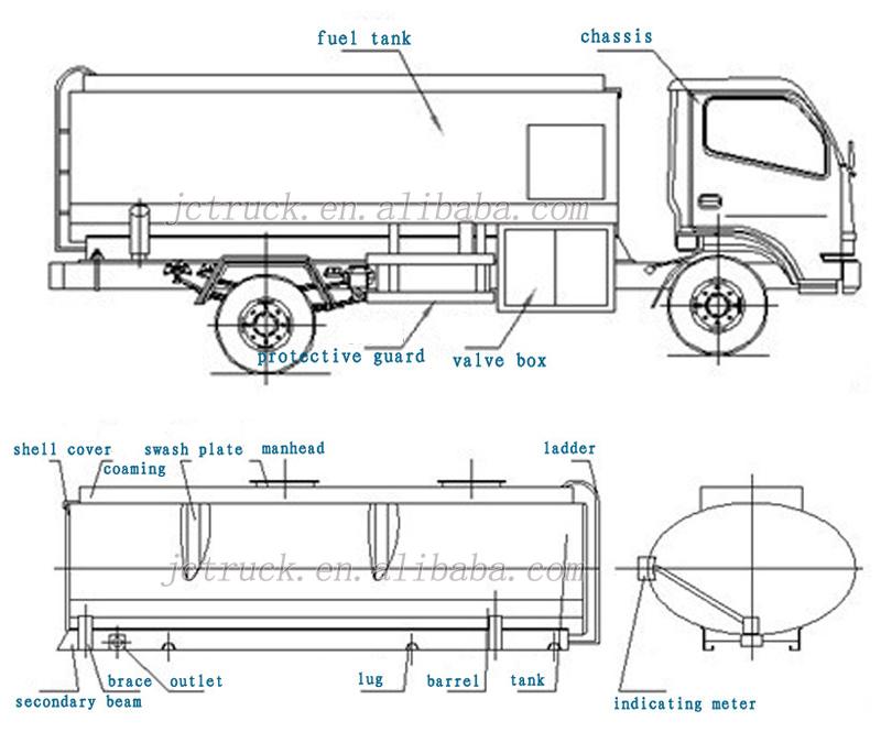 Fuel Tanker Truck For 25000 Liters Capacity Aluminum Alloy