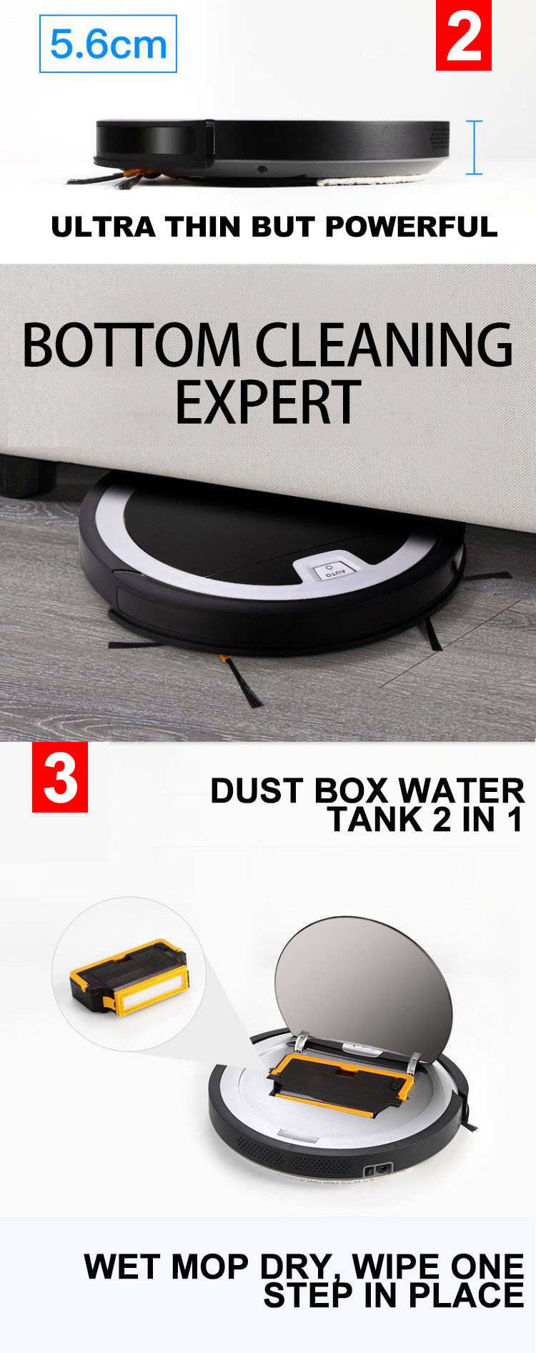 2D Map Navigation Auto Recharge WIFI APP Control Smart Vacuum Cleaning Robot