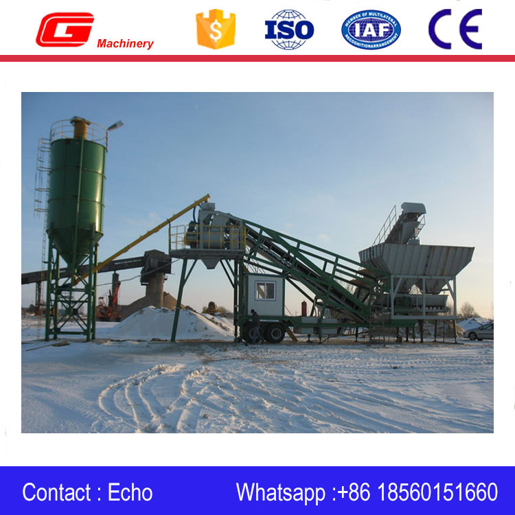 Hopper feeding mobile concrete plant batching station ready mix concrete plant