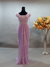 2015 Real Sample Picture Long Lavender Cap Sleeve Chiffon Prom Dress