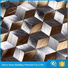 Peel and stick backsplash brushed silver aluminum metal Mosaic with decorative diamond glass wall Tile