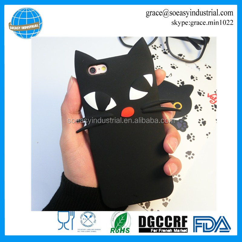 Black Cat Animal Shape silicone phone cover