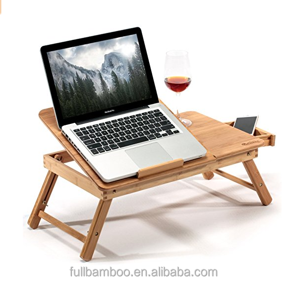 Bamboo laptop desk with drawer and adjustable leg