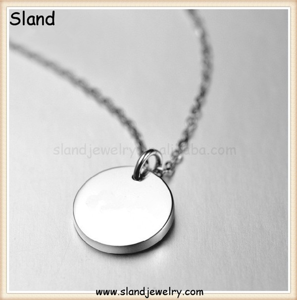 Personalized Jewelry Simple and plain design stainless steel silver polishing engravable Delicate disc necklace