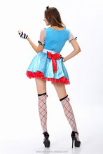 Ladies Blue Gothic Lolita Dress Long Sleeve Cotton Sex SimpleCosplay Costume