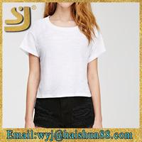 new fashion promotional very low price oem customed low moq slim fit plain white t-shirts