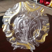 Wedding Tableware Clear And Gold Glass Charger Plate