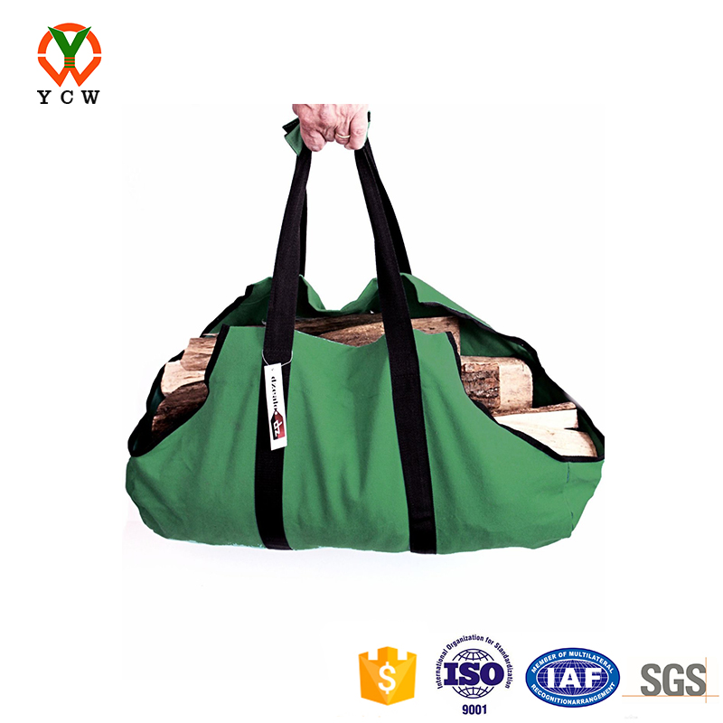 Canvas log carrier tote wood carrier bag heavy duty firewood tote bag