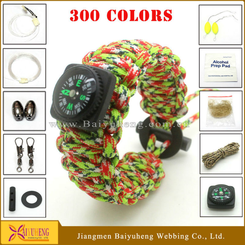 outdoor 550 paracord survival bracelet with survival accessories