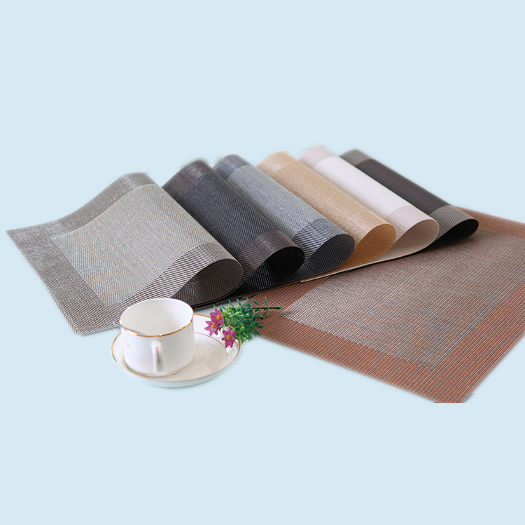 Wholesale restaurant coffee custom dining table mat , PVC plastic material woven vinyl placemat