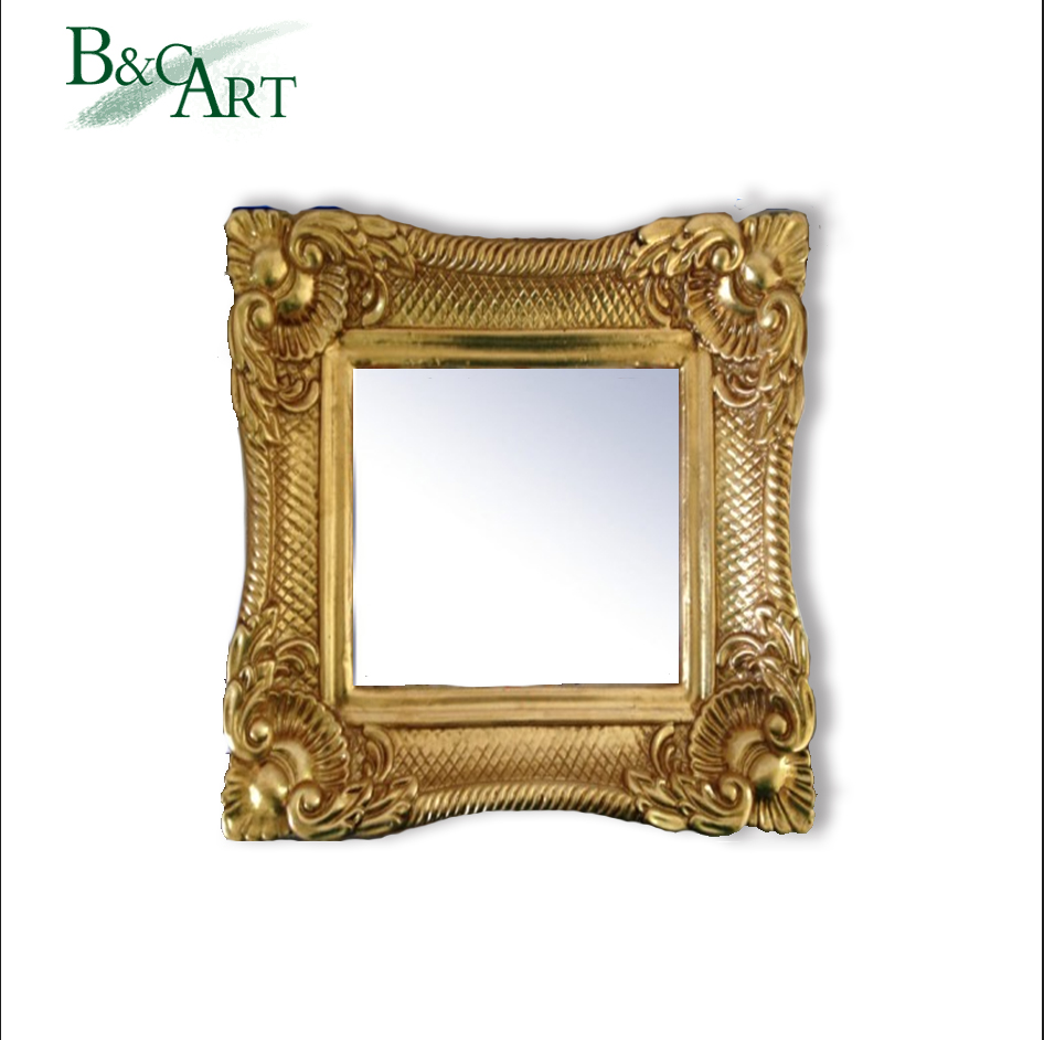 Wholesale Bulk Antique Baroque Scale Effect Golden PU Framed Hanging Mirror for Hotel Decor