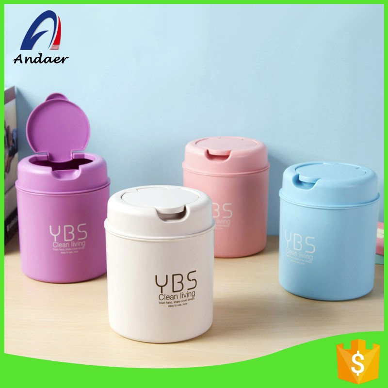 Small plastic table round shape wastebasket,food grade pp plastic trash can with flat lid