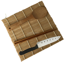 Bamboo Sushi making kit including rolling mat, rice paddle, chopsticks and knife