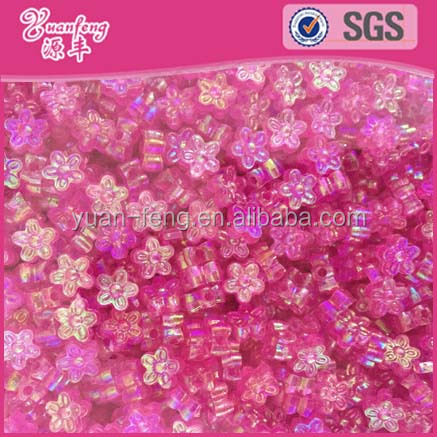Wholesale best selling ab pink color plastic flat flower shaped beads for ornament