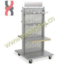 Double sided metal shop display stand/Flooring gridwall display rack/groceries display shelf