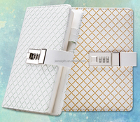 Office or girl style secret diary with lock,custom A5 pu leather combination lock diary,wholesale lock diary notebook supplier