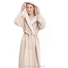 kahaki hooded double layer microfiber bathrobe women robe design for hotel and home