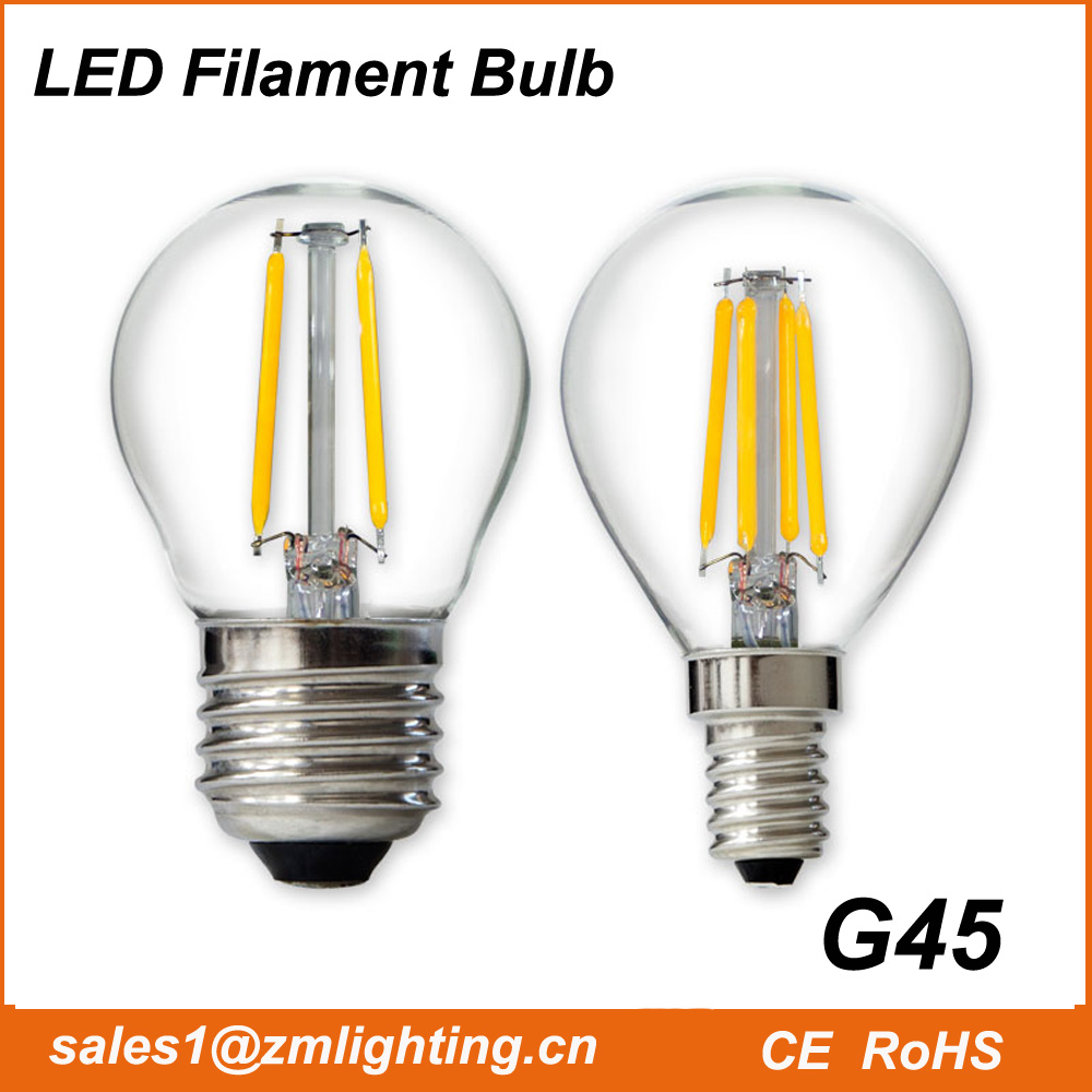 G45 E27 E14 E12 base LED filament bulbs lamp mini candle light dimmable 2W 4W G45 bulb