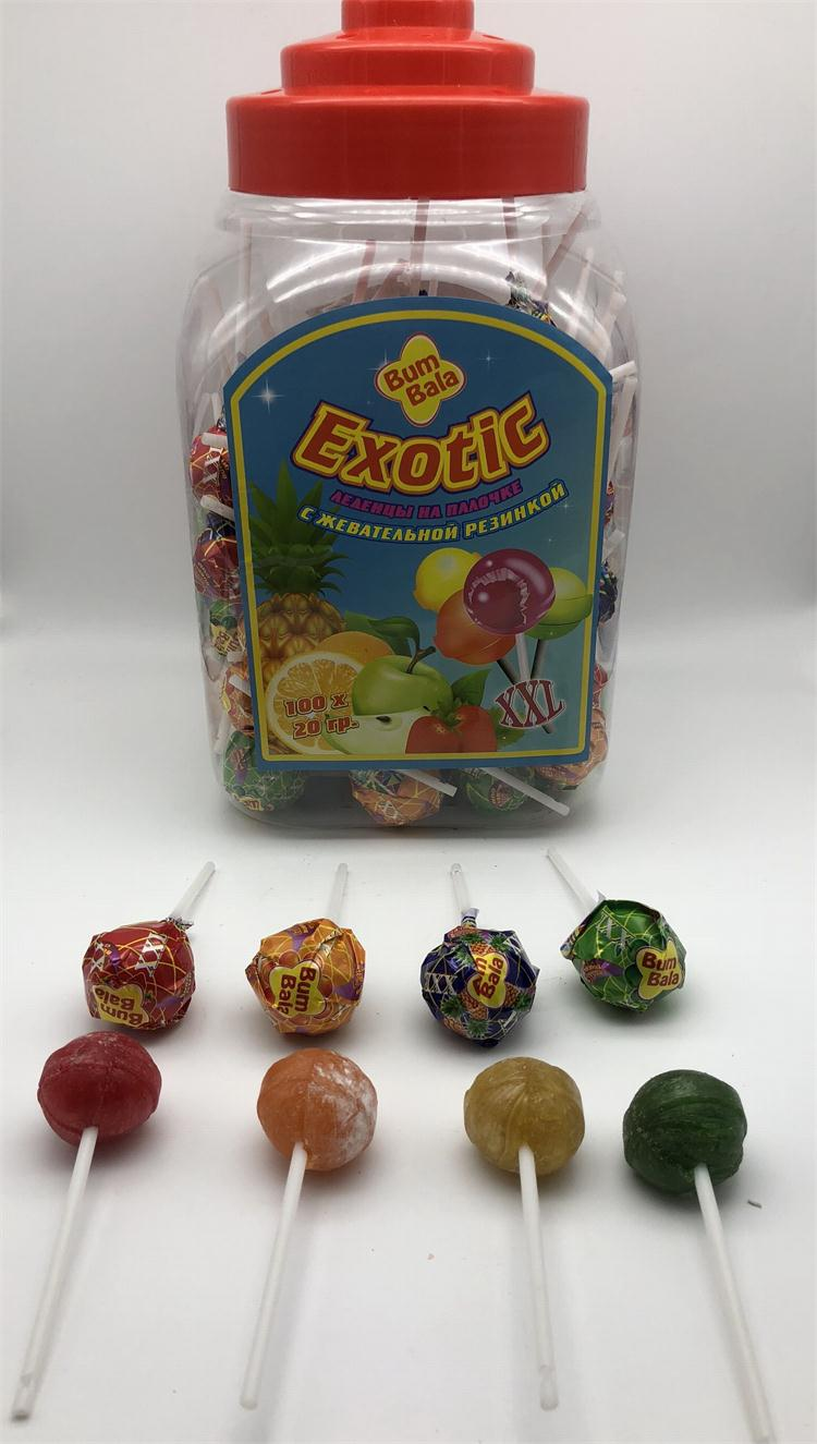 A variety of fruit flavored candy lollipops with chocolate jam