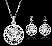 Fashion Heavy Jewellery Stailess Steel Earrings Necklace Beauty's Head Cameo Jewelry Set