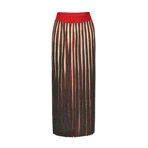 Fashion lady stripes mixed lurex long maxi skirt