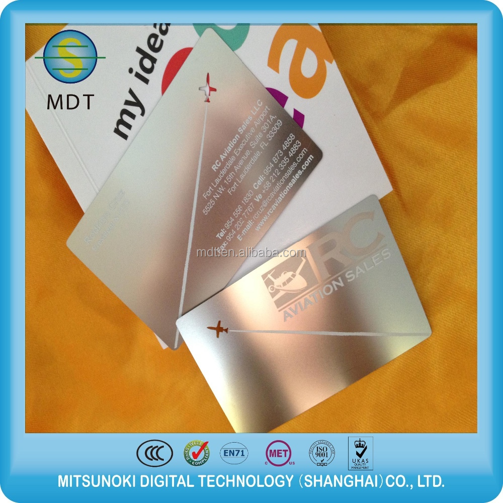 China manufacturer rose gold metal business card