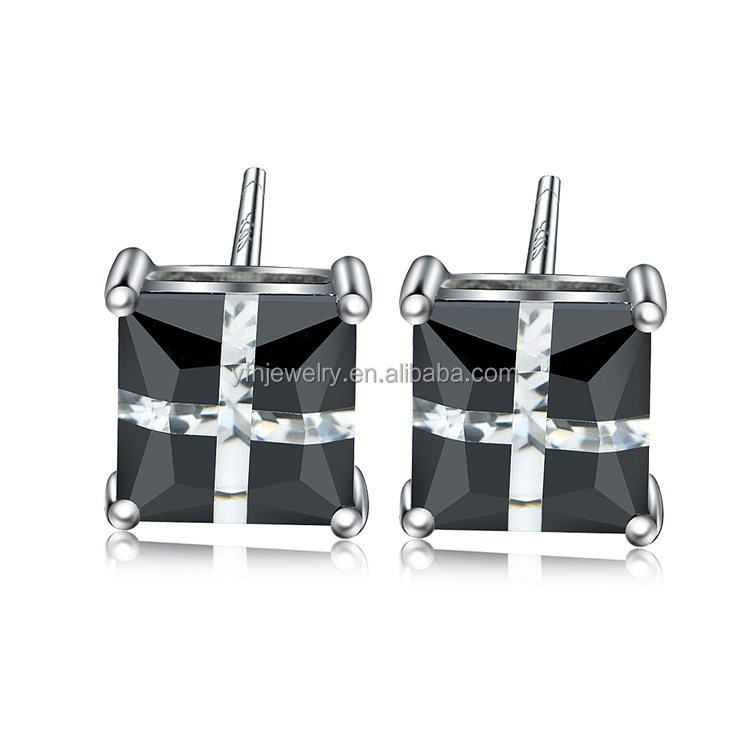 Have Many Sizes Silver Black Gemstone Diamond Cube Earrings Hot Sale Canada