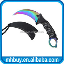 Karambit knife Tactical CS Go gaming knife with plastic handle and rainbow titanium finished blade
