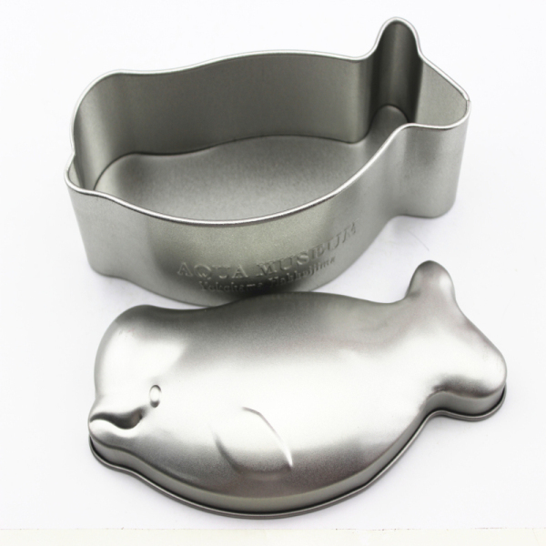 Irregular tin box dolphin shaped custom packing case