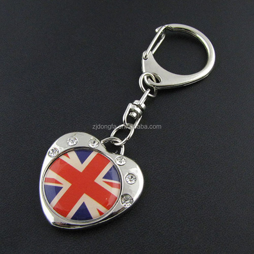 custom rectangle UK united kingdom british flag epoxy dome metal keychain london souvenirs