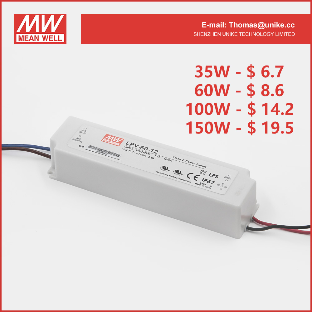 TaiWan Meanwell Constant Voltage 12V LED strip light Driver model LPV-60-12 led strip lighting driver