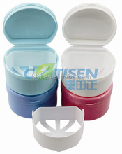 plastic denture boxes/retainer boxes/teeth storage boxes with soak net/basket
