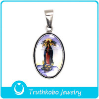 Custom Design New Fashion Religious Enamel Holy Mary Mother And Child Pendant Stainless Steel Christianity Jewelry Pendant